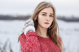 young girl in winter outdoor