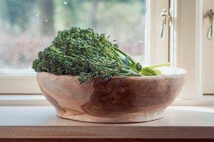 Wild broccoli in bowl