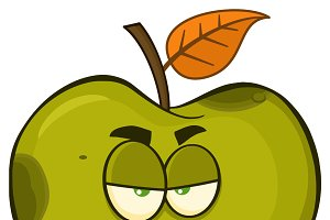 Grumpy Rotten Green Apple Fruit