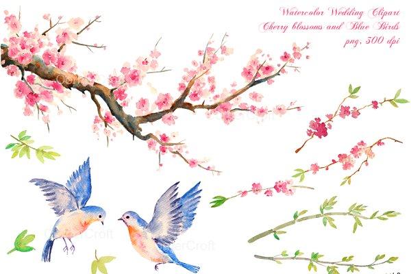 wedding clipart cherry blue birds