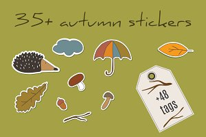 Autumn stickers and tags