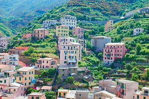 Beautiful architecture of Manrola village. Manarola is one of the most popular old village in Cinque Terre, taly