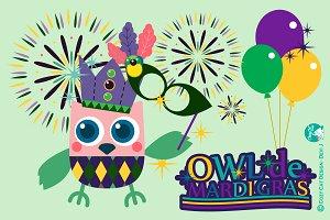Digital Clipart Owl De Mardi Gras