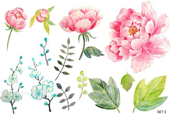 Wedding Watercolor Pink Peony