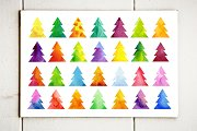 Xmas tree watercolor template