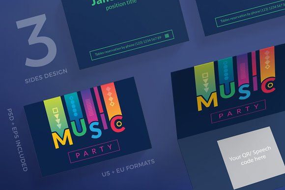 Business Cards Music Party Business Card Templates Creative Market