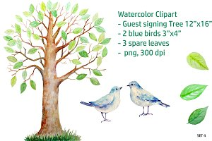 Guest Signing Tree + Blue Birds