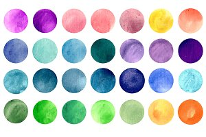 Watercolor circle texture 135 pack