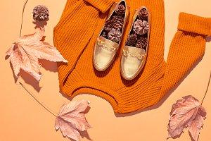 Fall Fashion Woman Outfit. Minimal. Autumn Retro