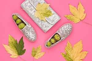 Autumn Arrives. Fashion Lady Minimal. Fall Leaves.