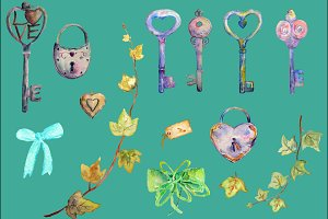 Watercolor Vintage Lock Key Heart
