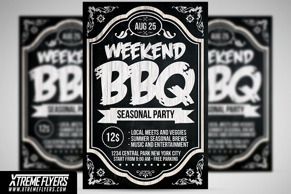 bbq barbecue flyer template flyer templates creative market