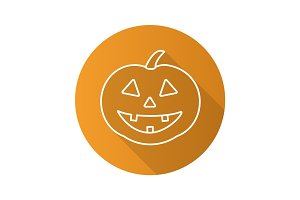 Halloween pumpkin flat linear long shadow icon