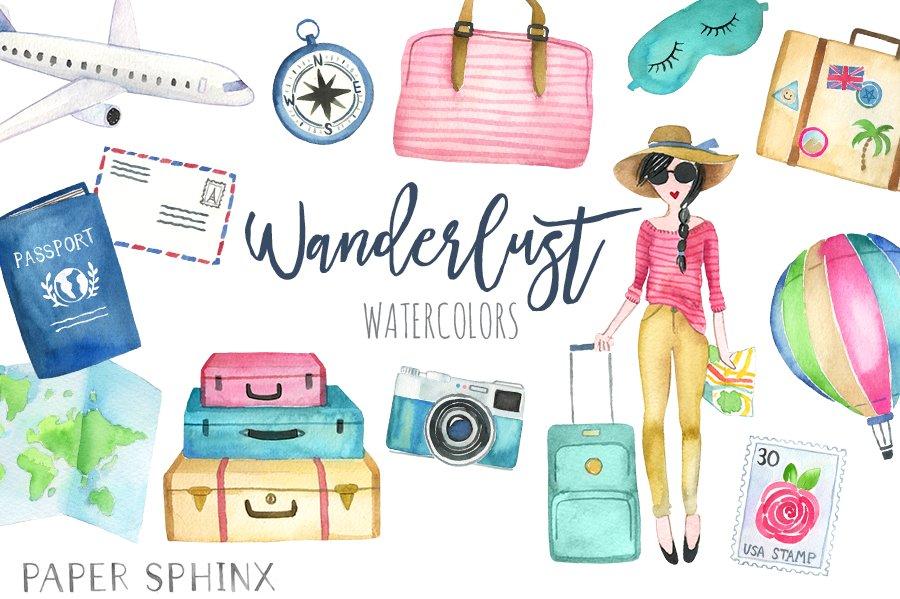 Watercolor Wanderlust Travel Pack ~ Illustrations ... (900 x 599 Pixel)
