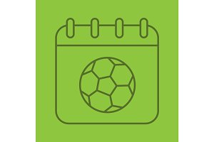 Soccer championship date linear icon
