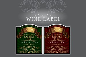 Wine label with gold ribbon