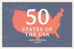 Line Logos. 50 States of the USA.