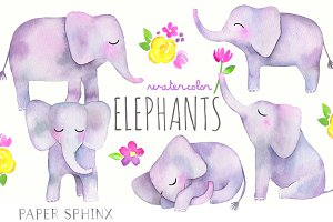 Watercolor Elephants Pack