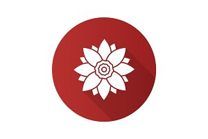 Lotus flower flat design long shadow glyph icon