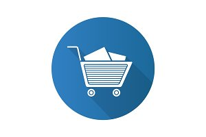 Shopping cart with boxes. Flat design long shadow glyph icon