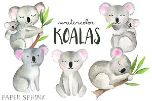 Watercolor Koalas Pack