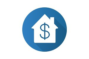 Property purchase flat design long shadow glyph icon
