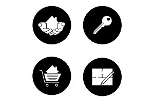 Real estate market glyph icons set
