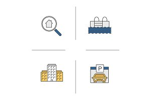 Real estate color icons set