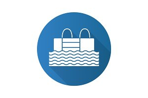 Swimming pool flat design long shadow glyph icon