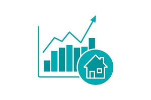 Real estate market growth chart glyph color icon