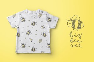 Hand drawn vector bees