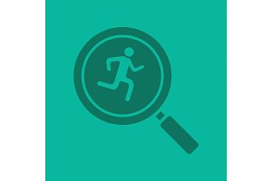 Running man inside loupe glyph color icon