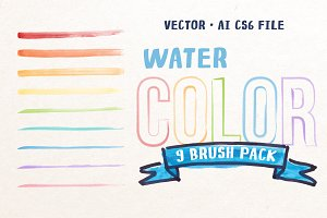 Watercolor 9 Brush Pack