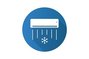 Air conditioner flat design long shadow glyph icon