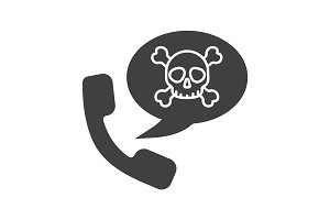 Dangerous telephone call glyph icon