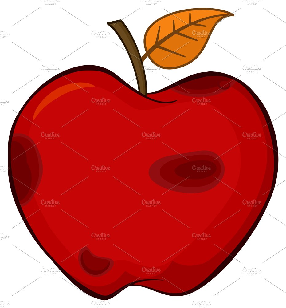 Rotten Red Apple Fruit With Leaf ~ Illustrations ...