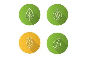 Leaves flat linear long shadow icons set
