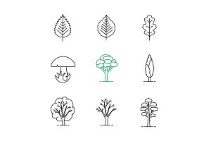 Trees linear icons set