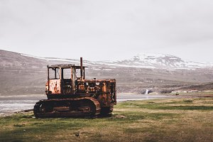 Abandoned Bulldozer on Field