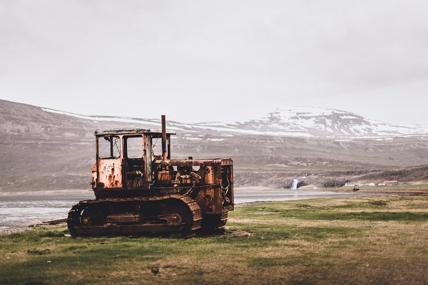 Technology Stock Photos: PhotoMarket - Abandoned Bulldozer on Field