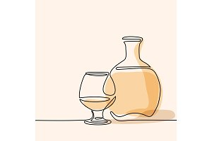 Cognac bottle and glass isolated
