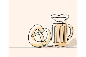 Oktoberfest Beer mug and pretzel