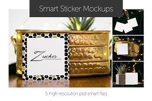 Elegant Square Sticker Mockups