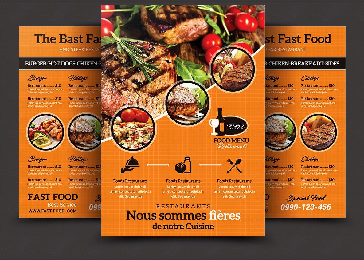 simple food menu flyer templates creative market