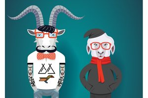 goat and sheep in hipster clothes