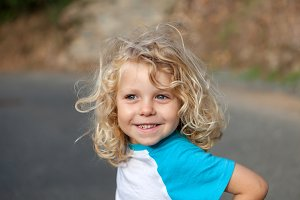 Cute blond small child