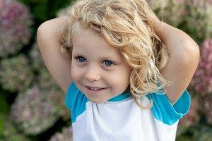Cute blond small child