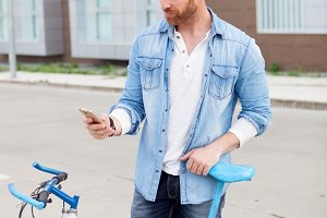 Casual guy with denim t-shirt