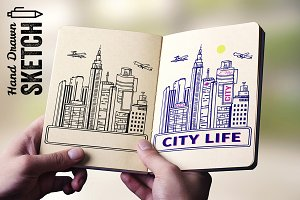 Hand drawn city landscape - Vector