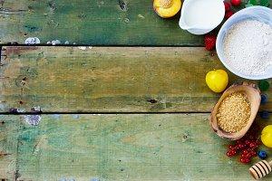 Berries and baking ingredients